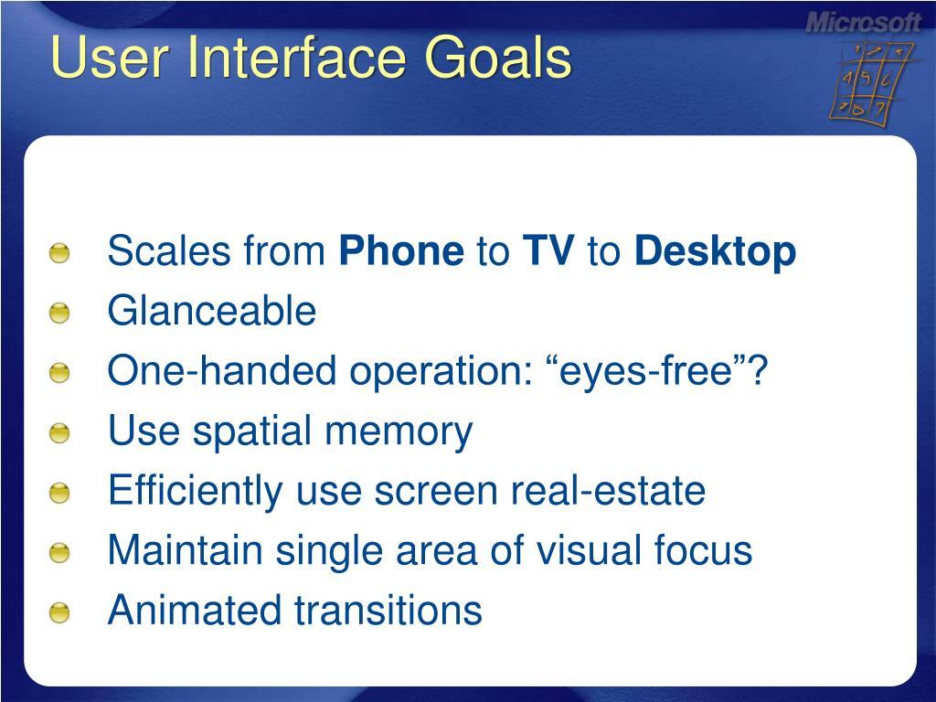 User Interface Goals