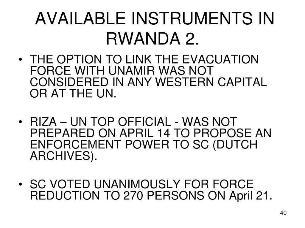 AVAILABLE INSTRUMENTS IN RWANDA 2.