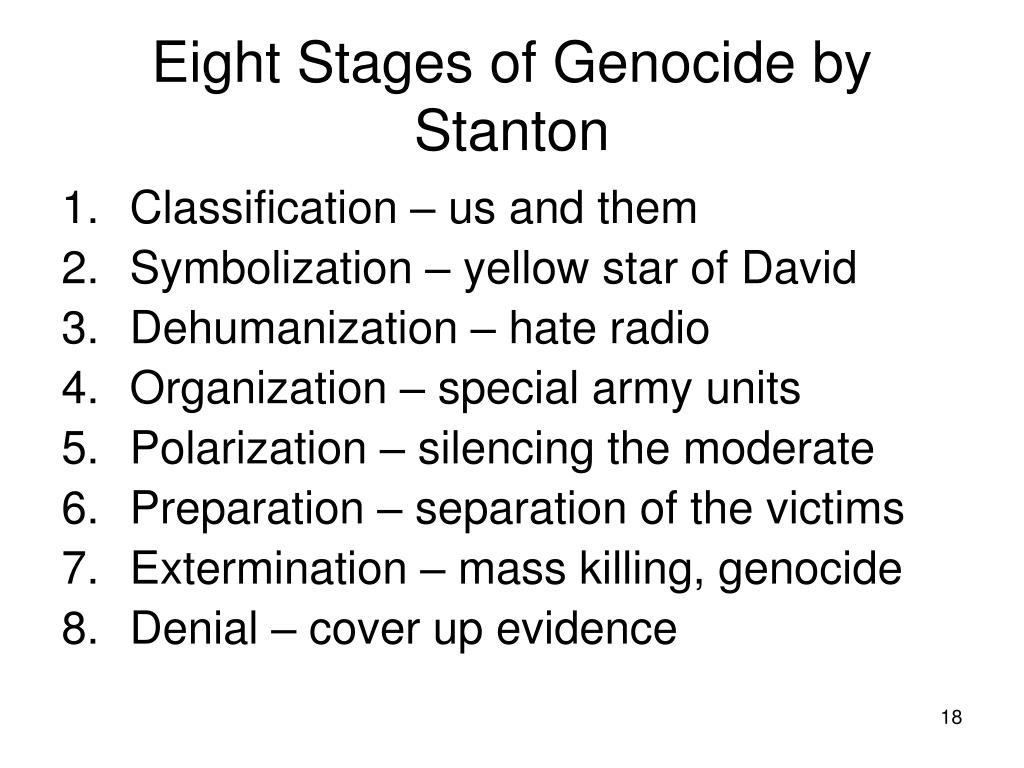 Eight Stages of Genocide by Stanton