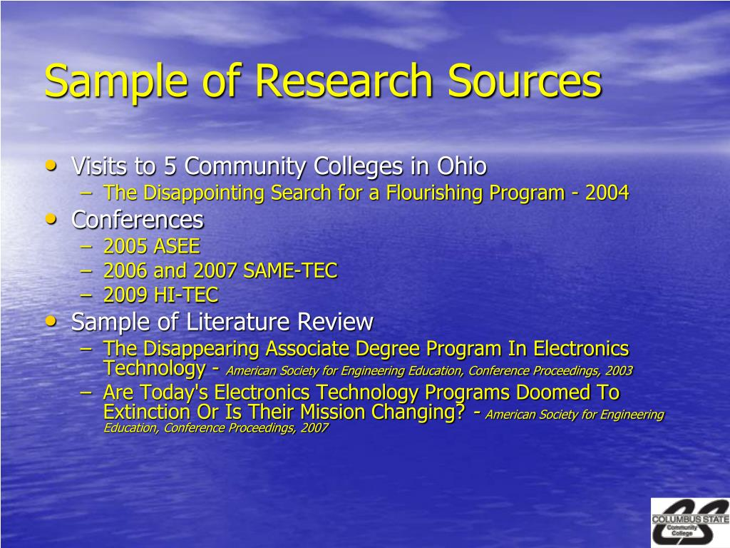 Sample of Research Sources