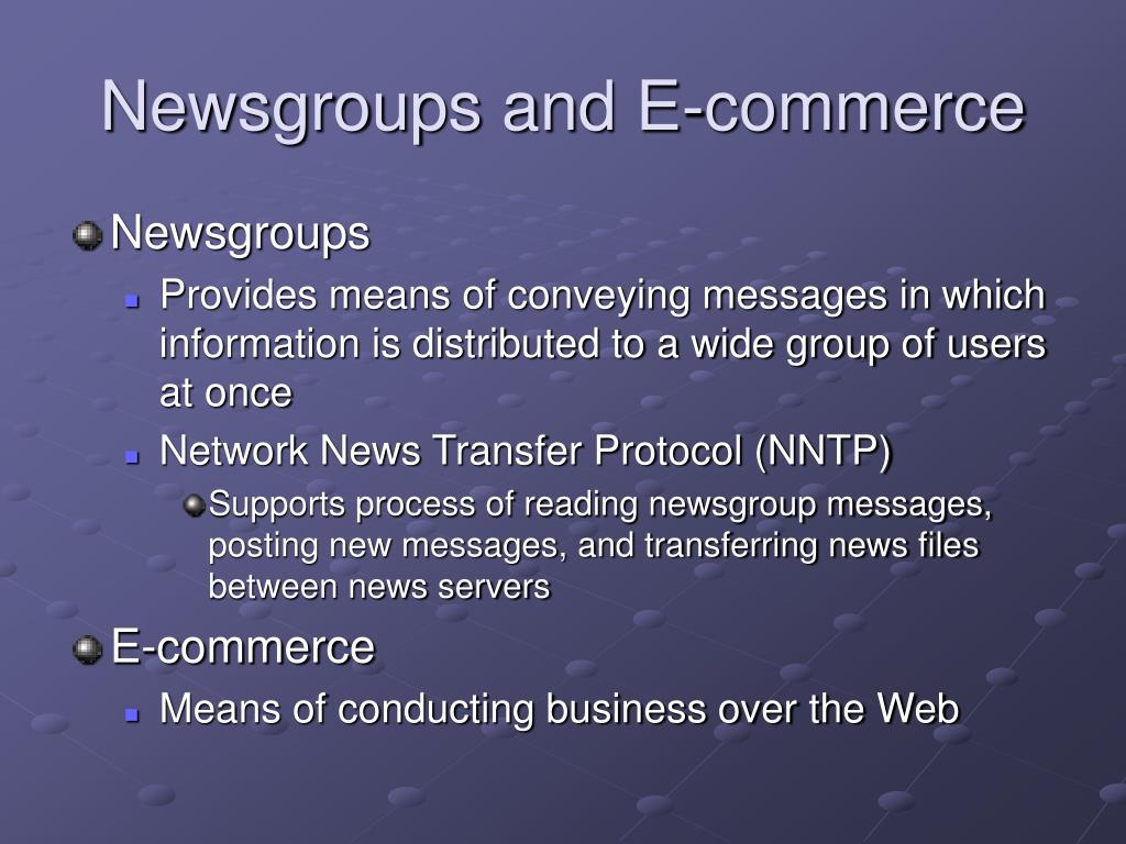Newsgroups and E-commerce