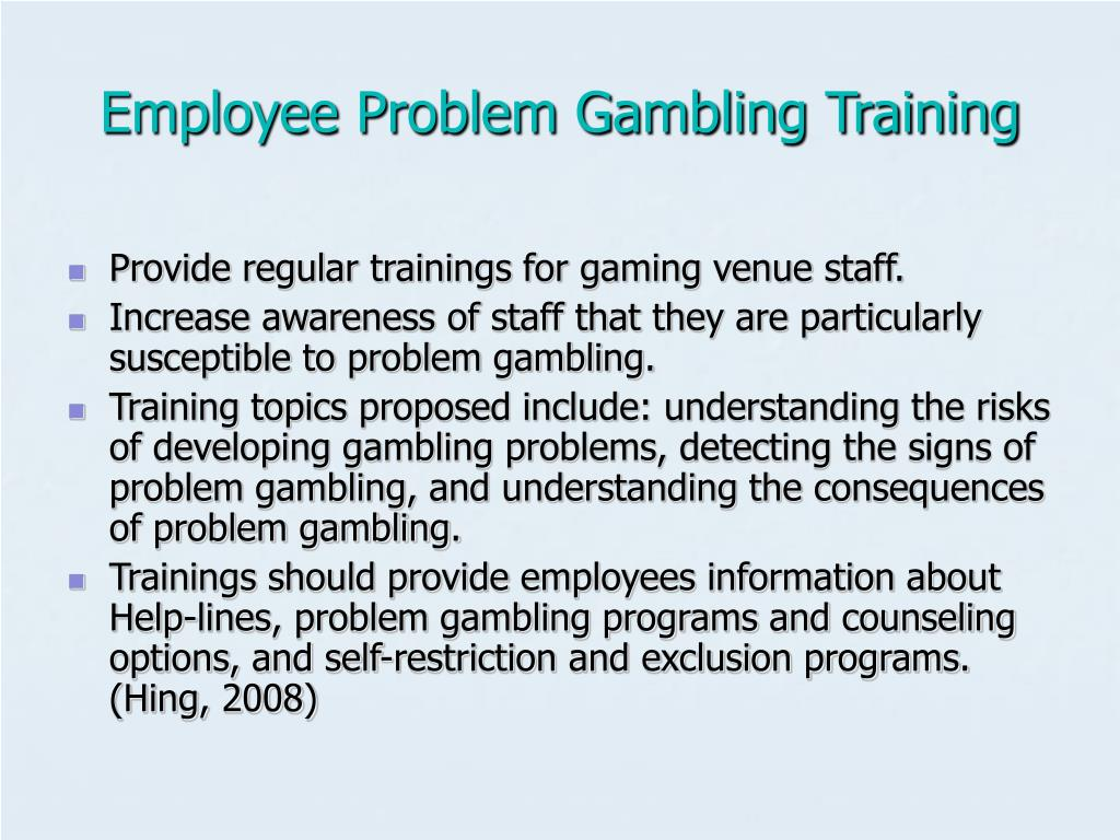 Employee Problem Gambling Training