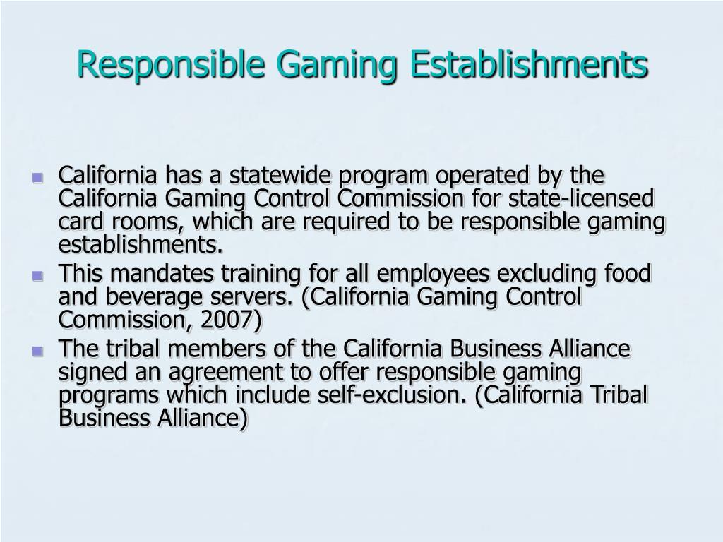 Responsible Gaming Establishments