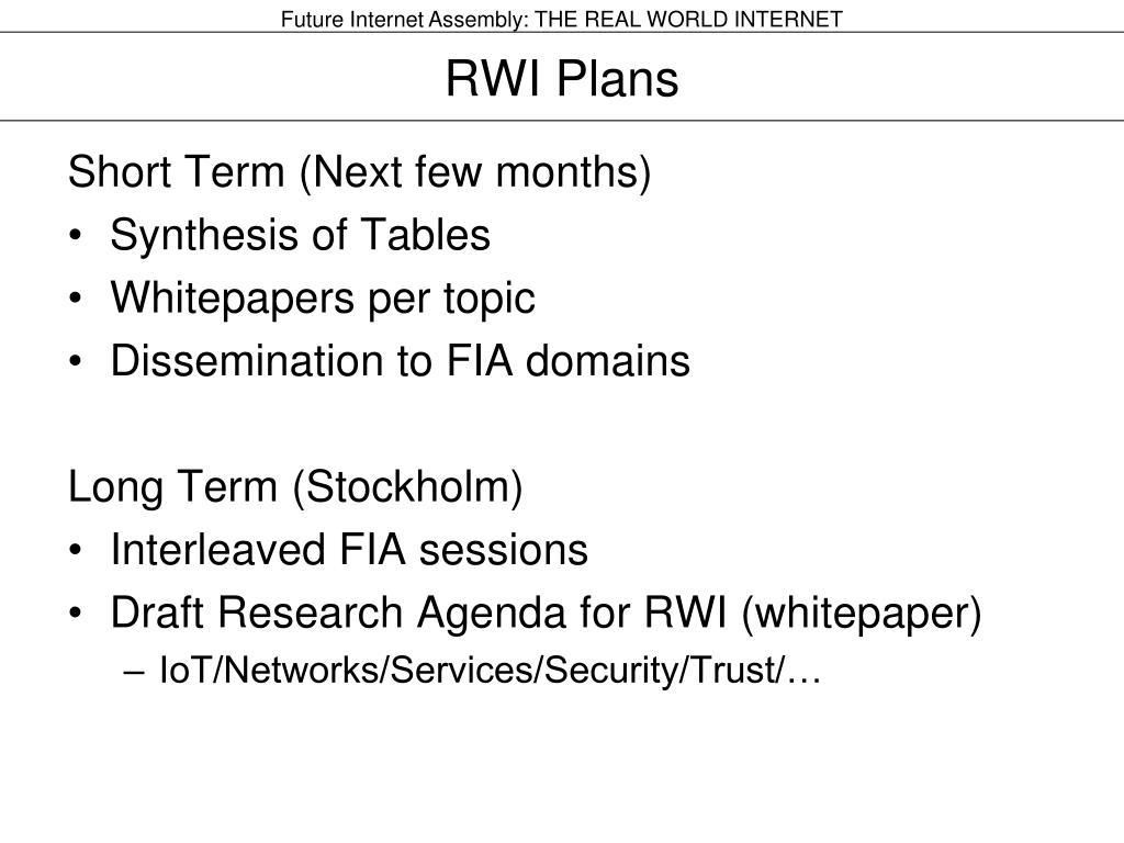 RWI Plans