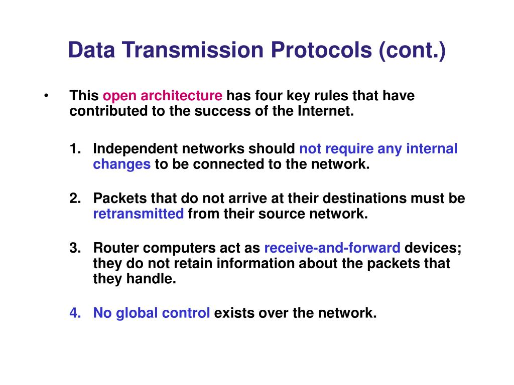 Data Transmission Protocols (cont.)