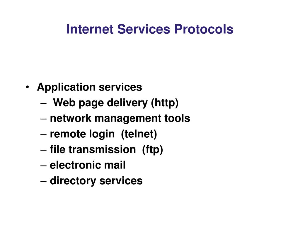 Internet Services Protocols