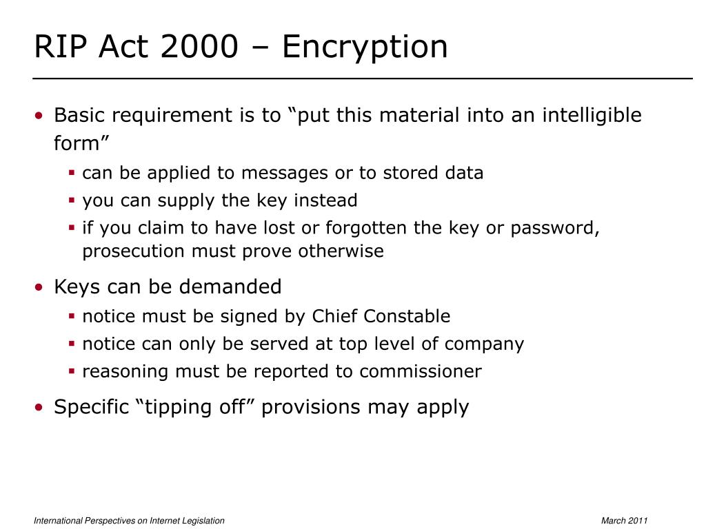RIP Act 2000 – Encryption