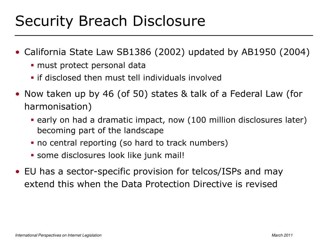 Security Breach Disclosure