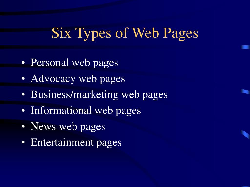 Six Types of Web Pages