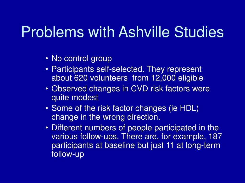Problems with Ashville Studies