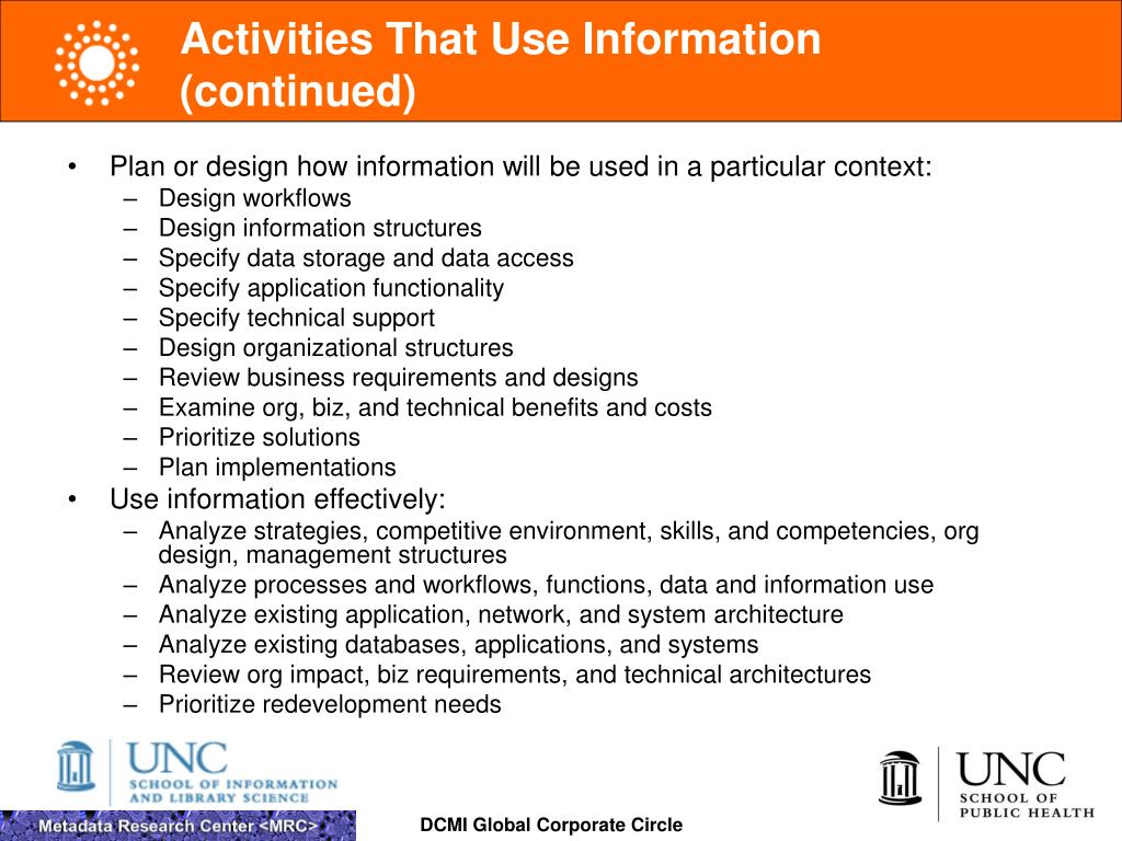 Activities That Use Information (continued)