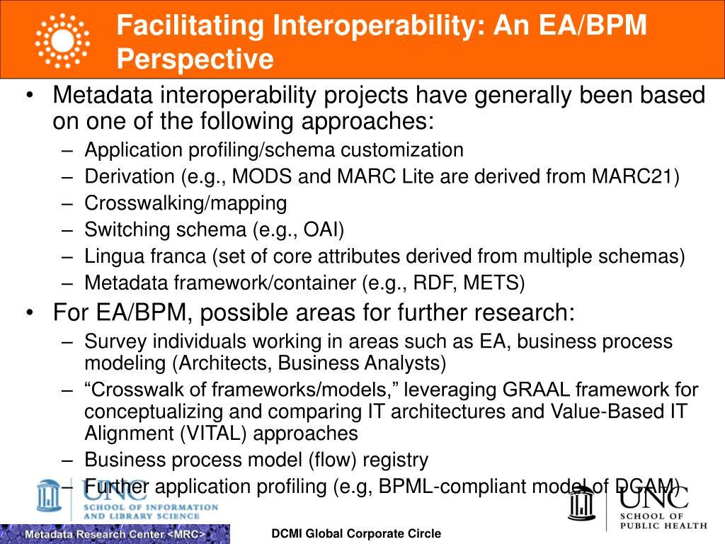 Facilitating Interoperability: An EA/BPM Perspective