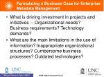 formulating a business case for enterprise metadata management