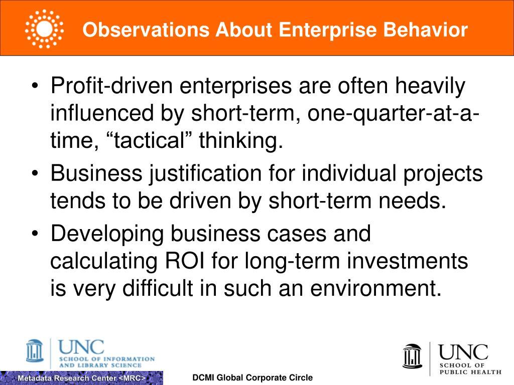 Observations About Enterprise Behavior
