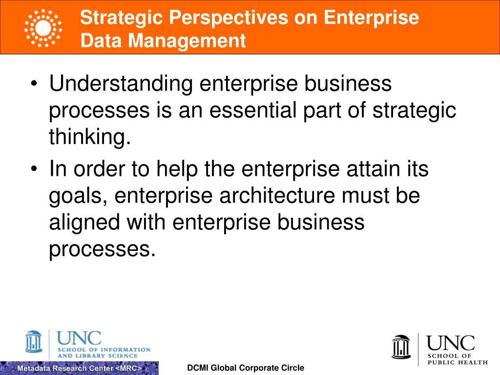Strategic Perspectives on Enterprise Data Management