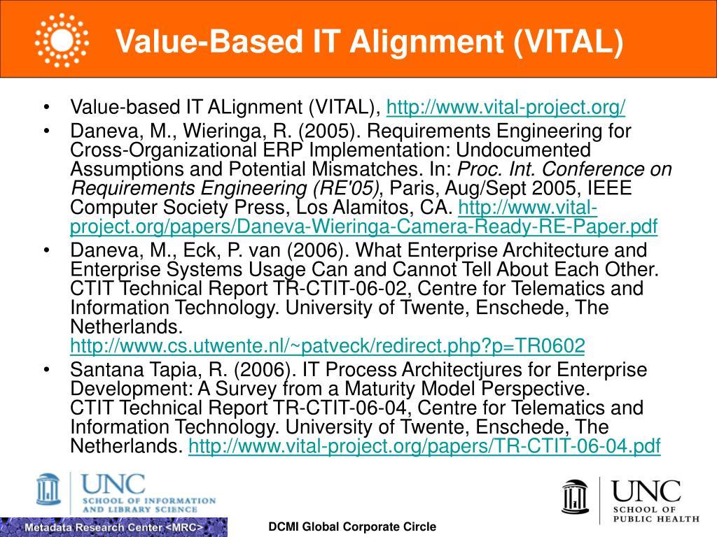 Value-Based IT Alignment (VITAL)