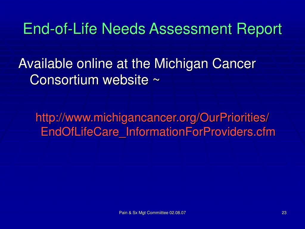 End-of-Life Needs Assessment Report
