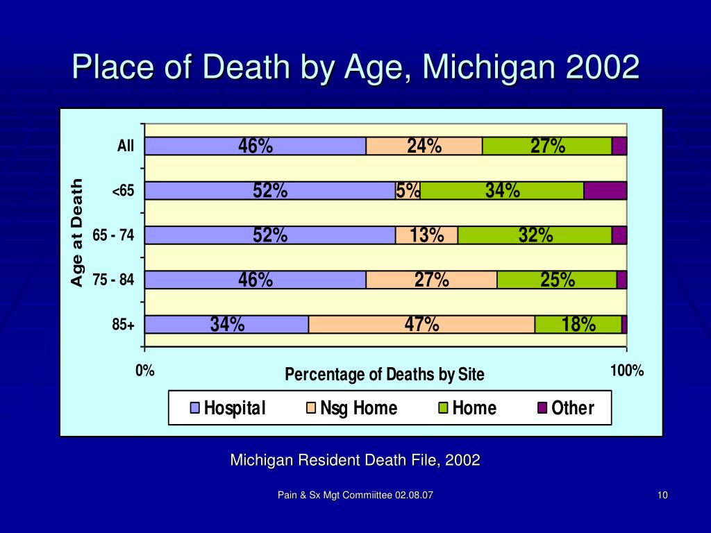 Place of Death by Age, Michigan 2002