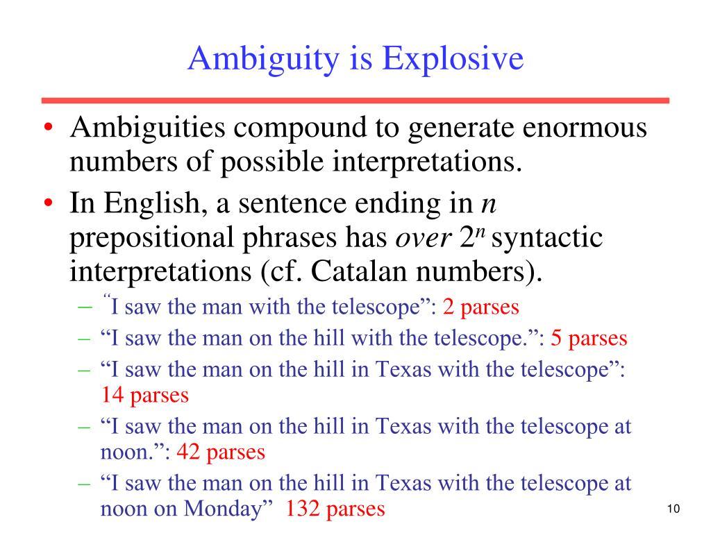Ambiguity is Explosive