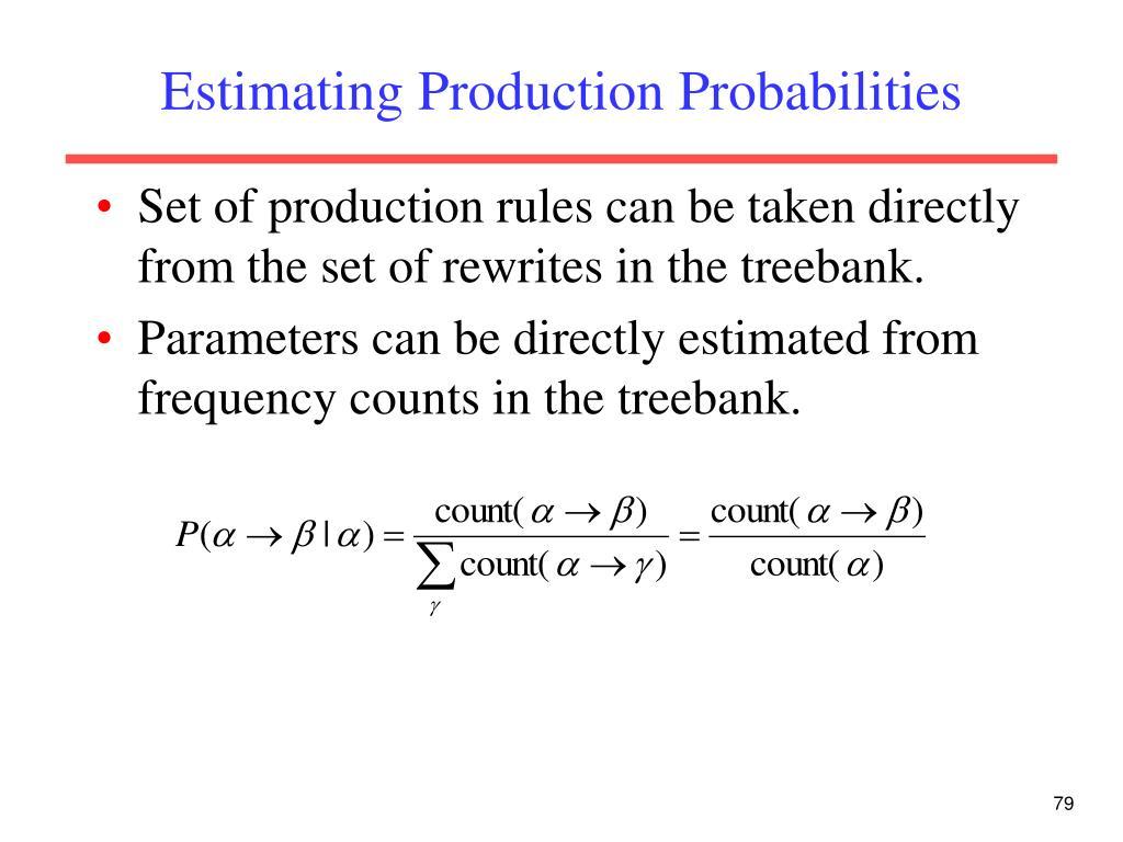 Estimating Production Probabilities