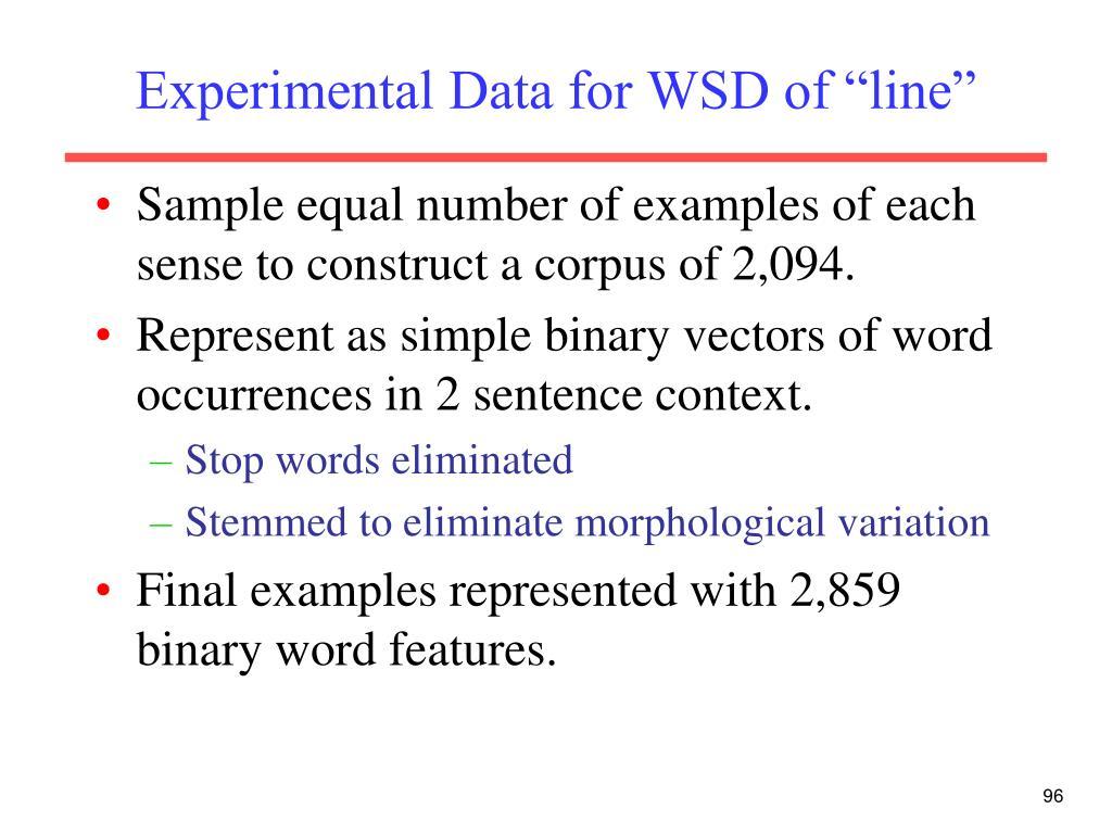 "Experimental Data for WSD of ""line"""