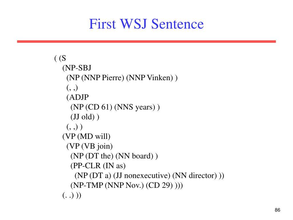 First WSJ Sentence