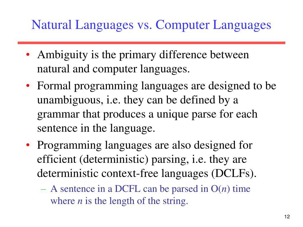 Natural Languages vs. Computer Languages