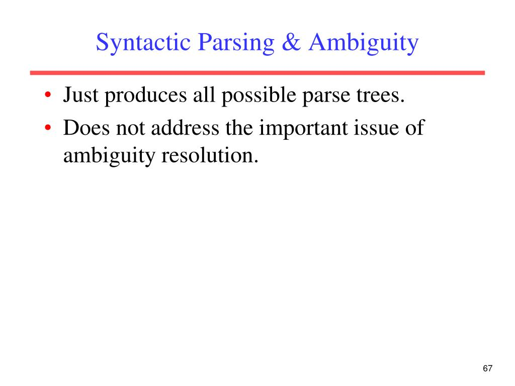 Syntactic Parsing & Ambiguity