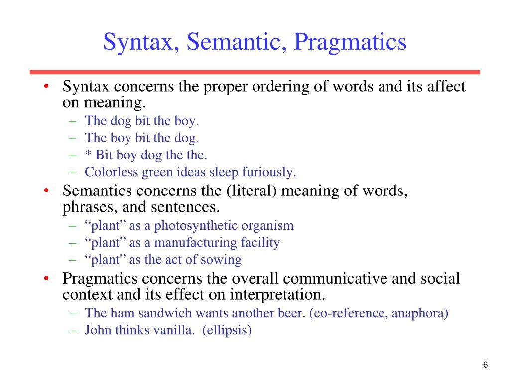 Syntax, Semantic, Pragmatics