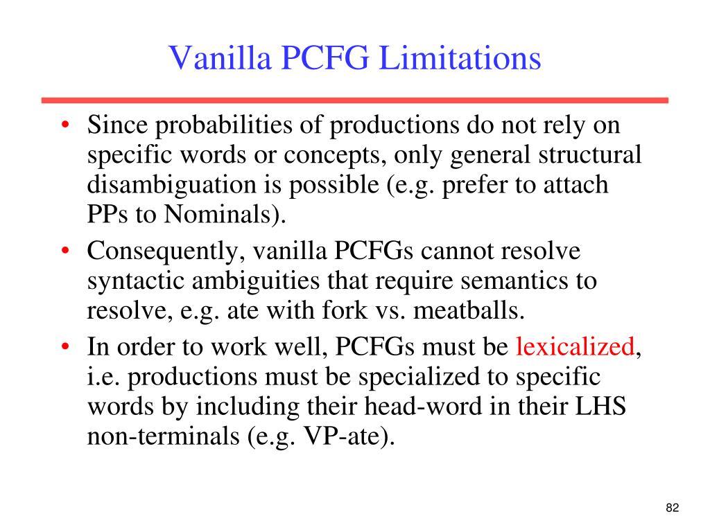 Vanilla PCFG Limitations