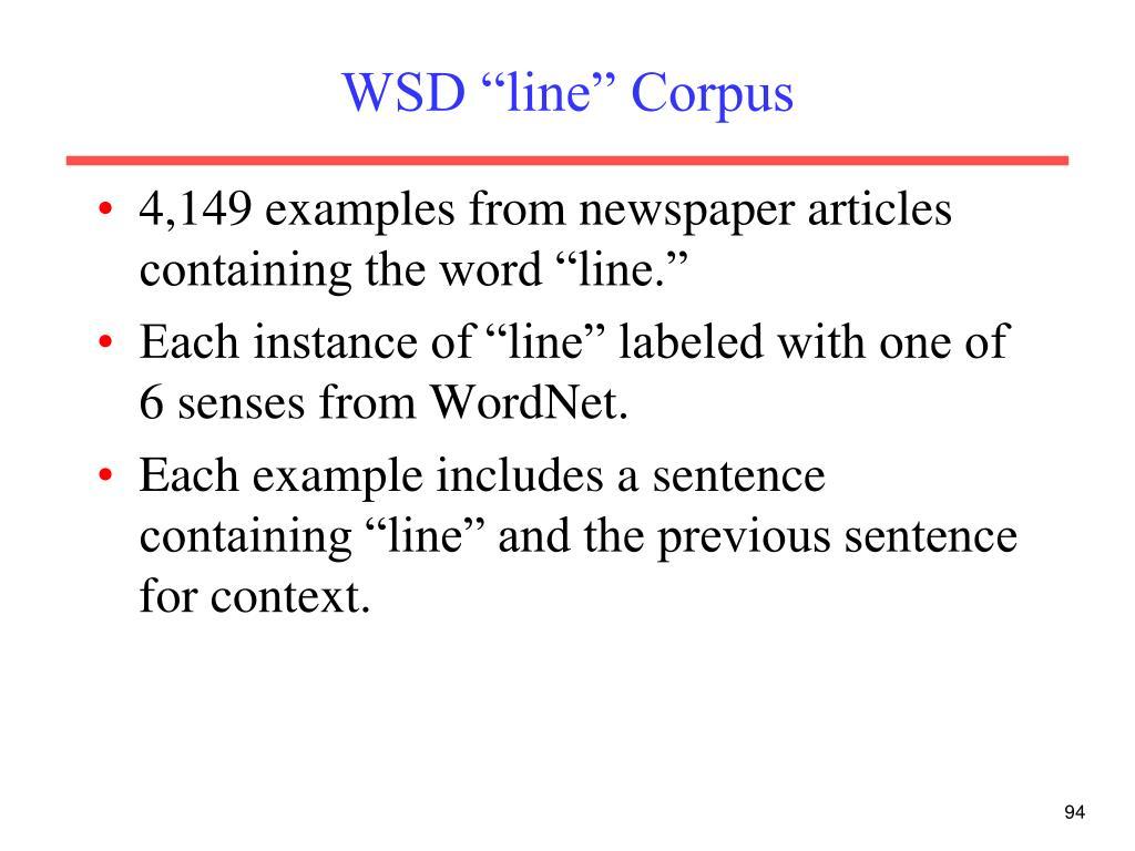 "WSD ""line"" Corpus"