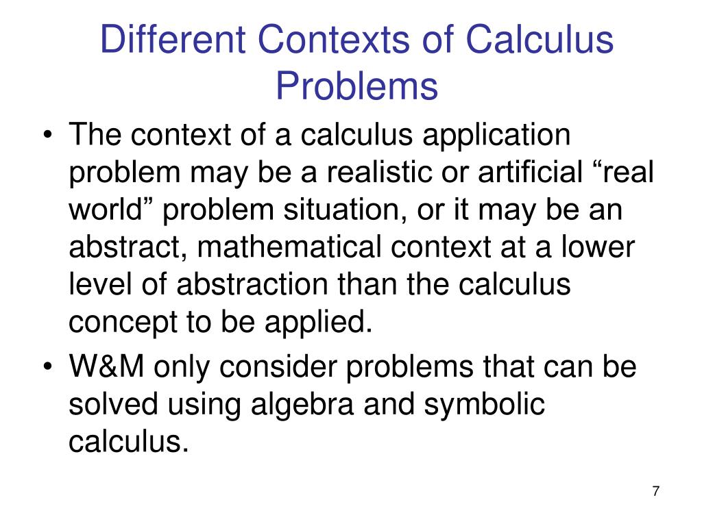 Different Contexts of Calculus Problems
