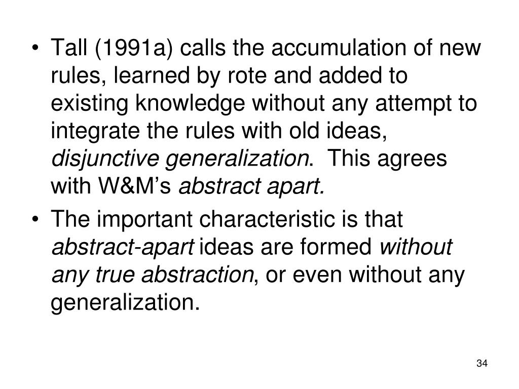 Tall (1991a) calls the accumulation of new rules, learned by rote and added to existing knowledge without any attempt to integrate the rules with old ideas,