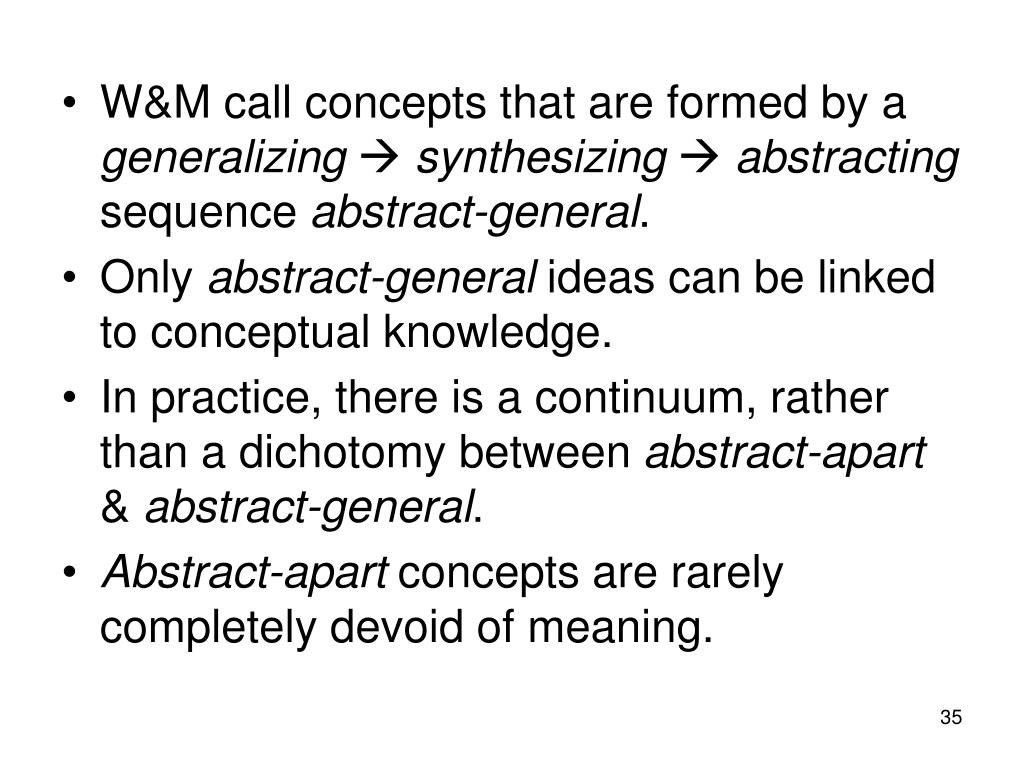 W&M call concepts that are formed by a