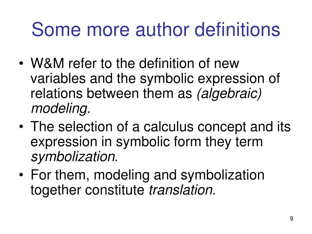 Some more author definitions