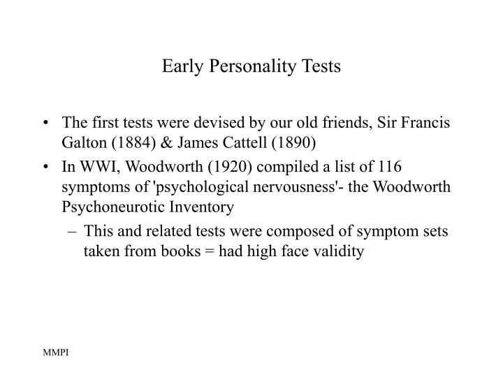 Early personality tests