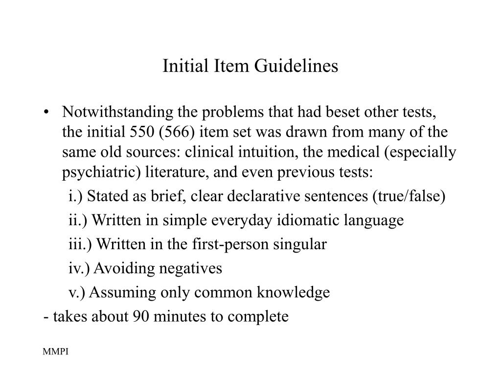 Initial Item Guidelines