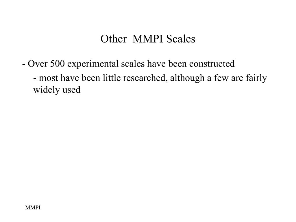 Other  MMPI Scales