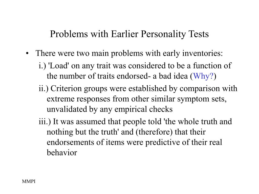 Problems with Earlier Personality Tests