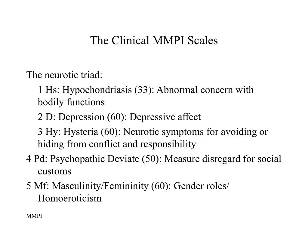 The Clinical MMPI Scales