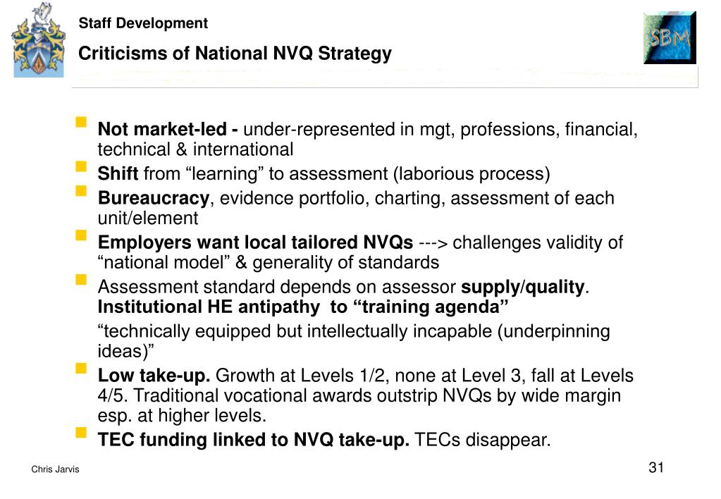 Criticisms of National NVQ Strategy