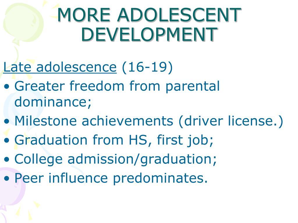 Adolescent and adult development