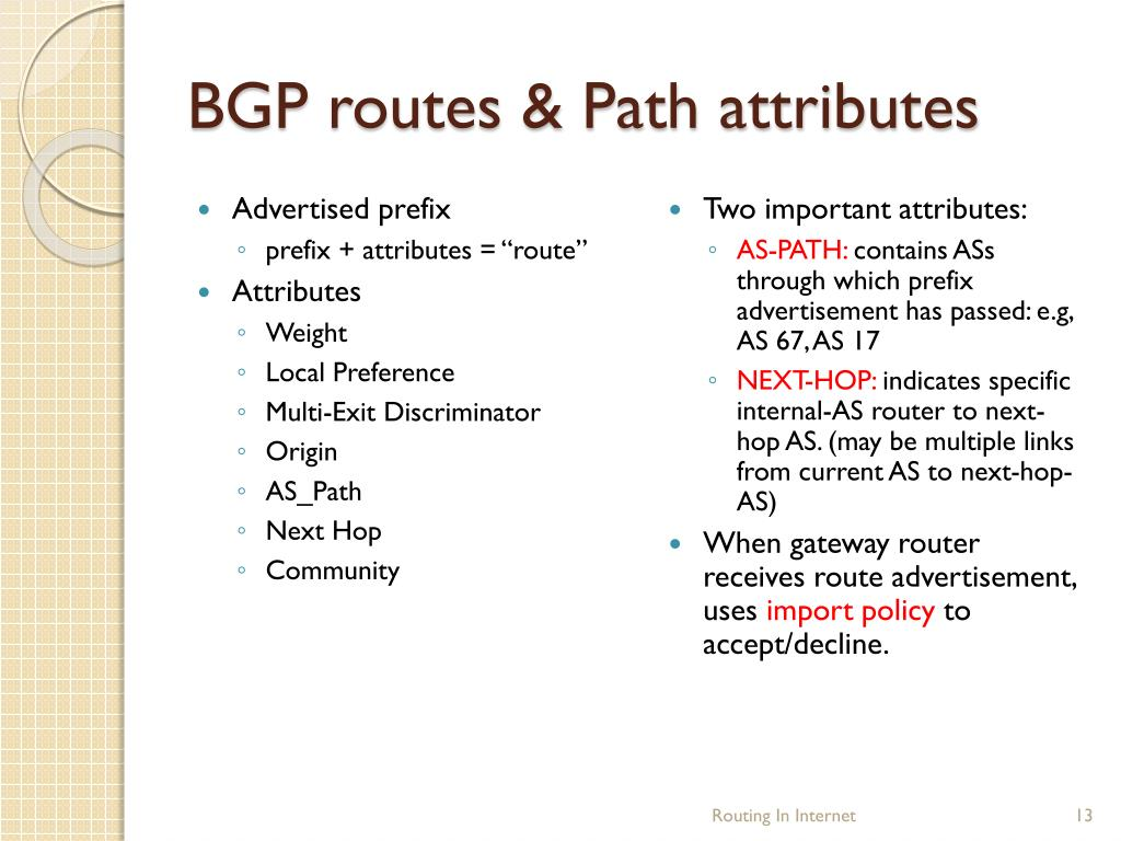 BGP routes & Path attributes