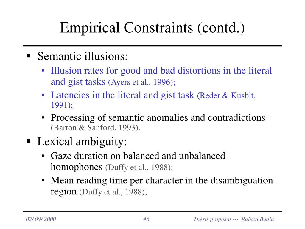 Empirical Constraints (contd.)
