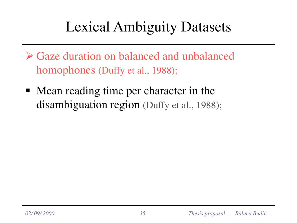 Lexical Ambiguity Datasets
