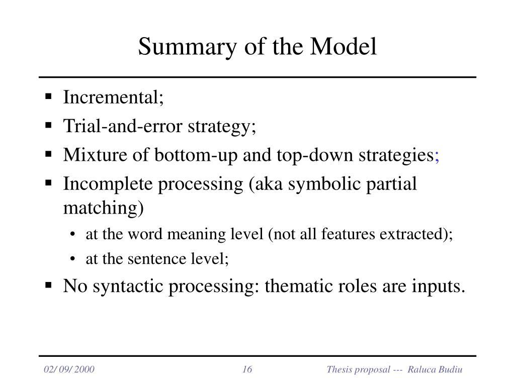Summary of the Model