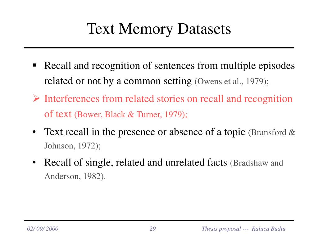 Text Memory Datasets