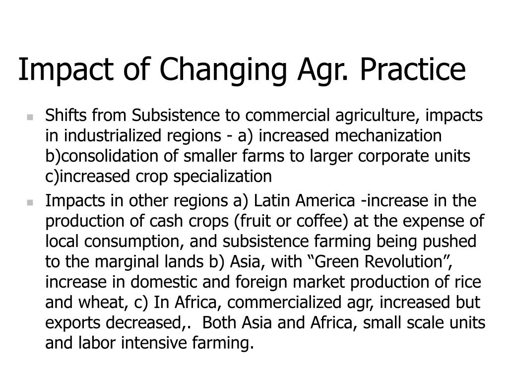 Impact of Changing Agr. Practice
