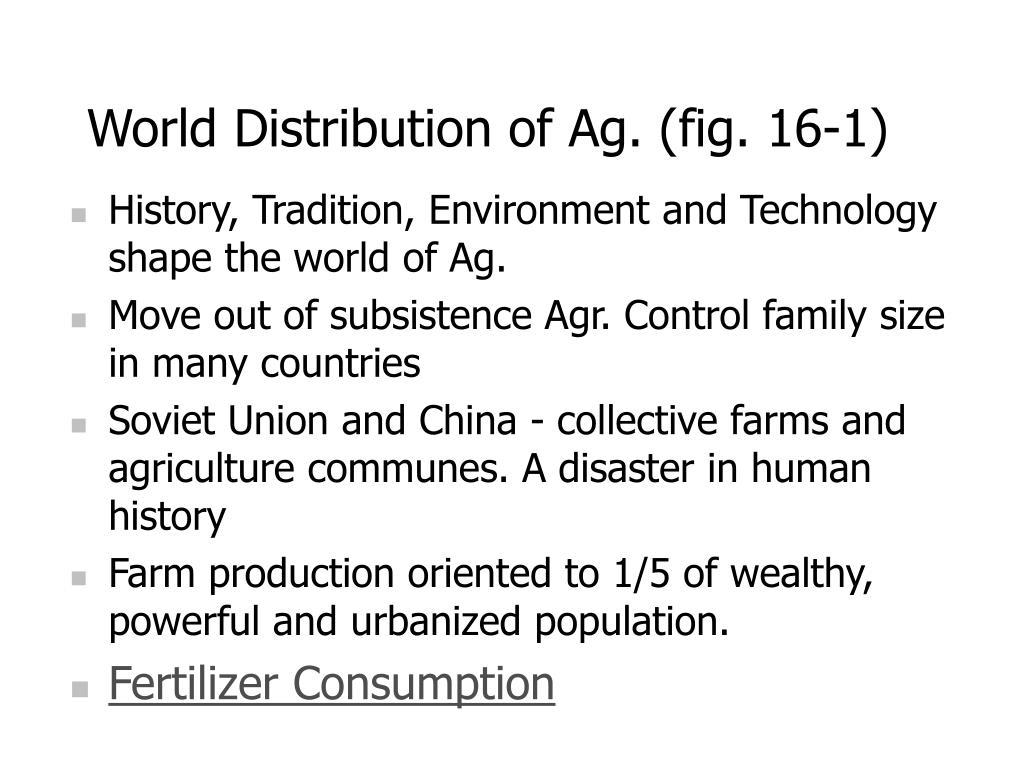 World Distribution of Ag. (fig. 16-1)