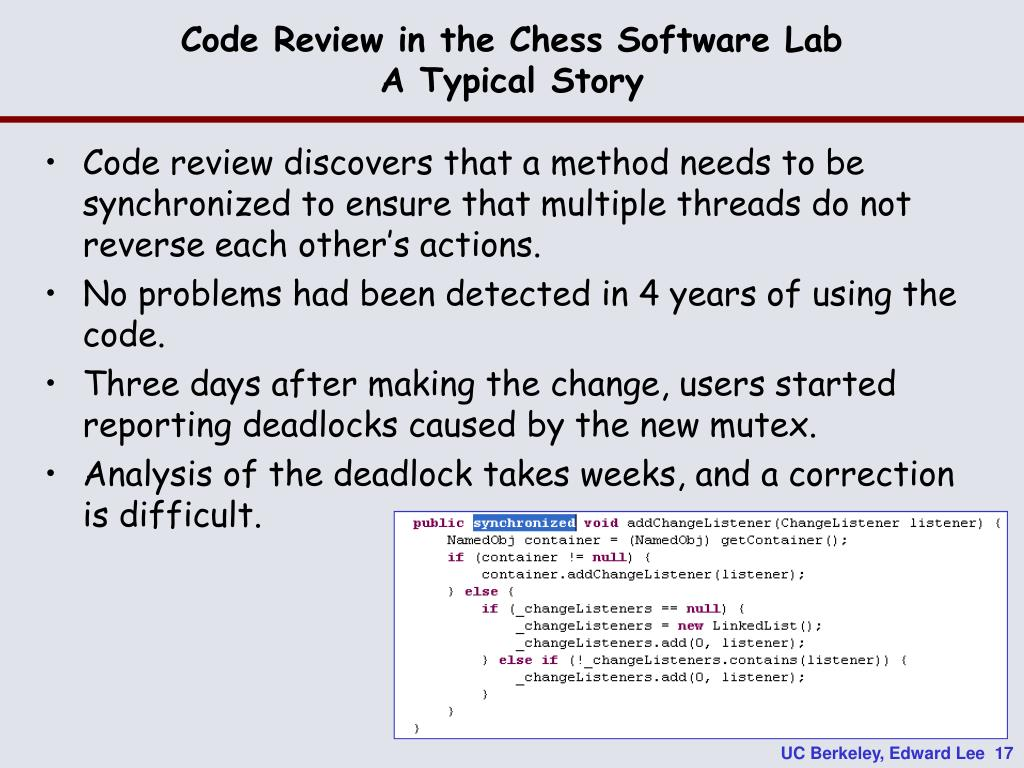 Code Review in the Chess Software Lab
